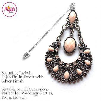 Madz Fashionz UK: Taybah Hijab Pin Hijab Jewels Stick Pins Silver Peach