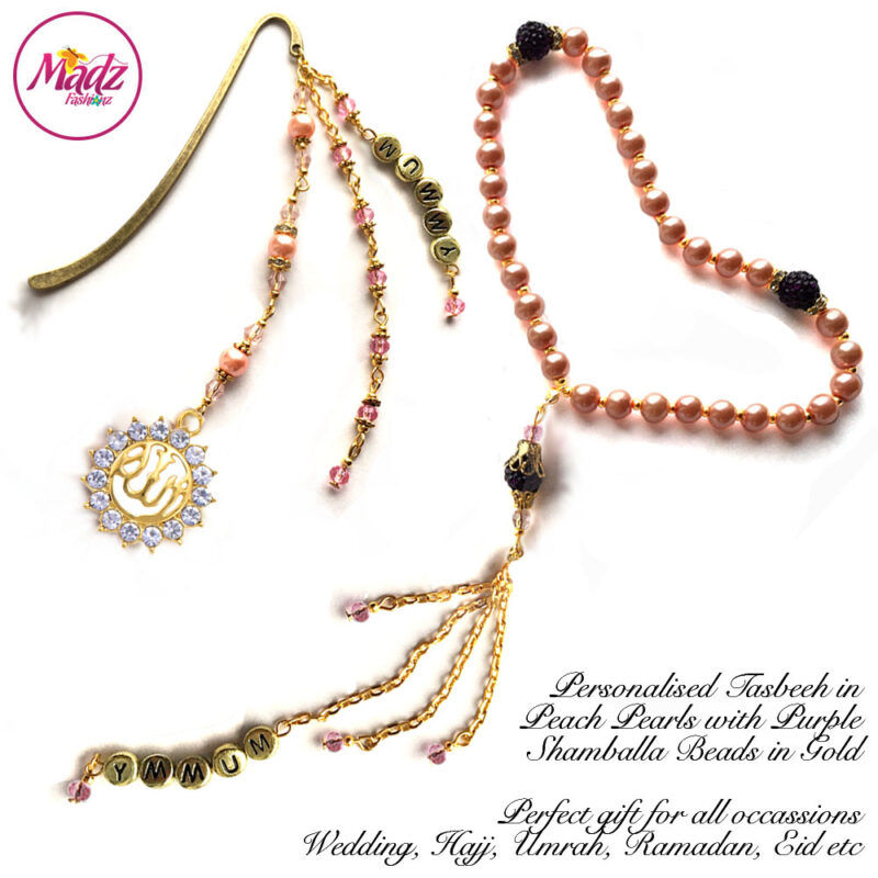 Madz Fashionz UK: Personalised Tasbeeh and Quran Bookmark Pin Set in Peach Pearls