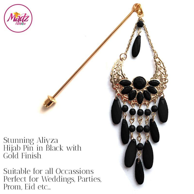 Madz Fashionz UK: Aliyzah Hijab Pin Hijab Jewels Stick Pins Gold Black