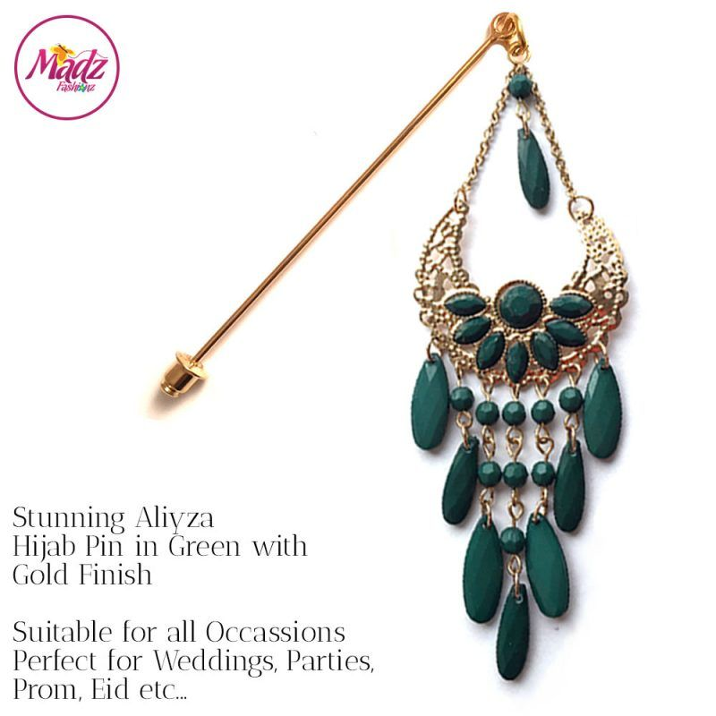 Madz Fashionz UK: Aliyzah Hijab Pin Hijab Jewels Stick Pins Gold Green
