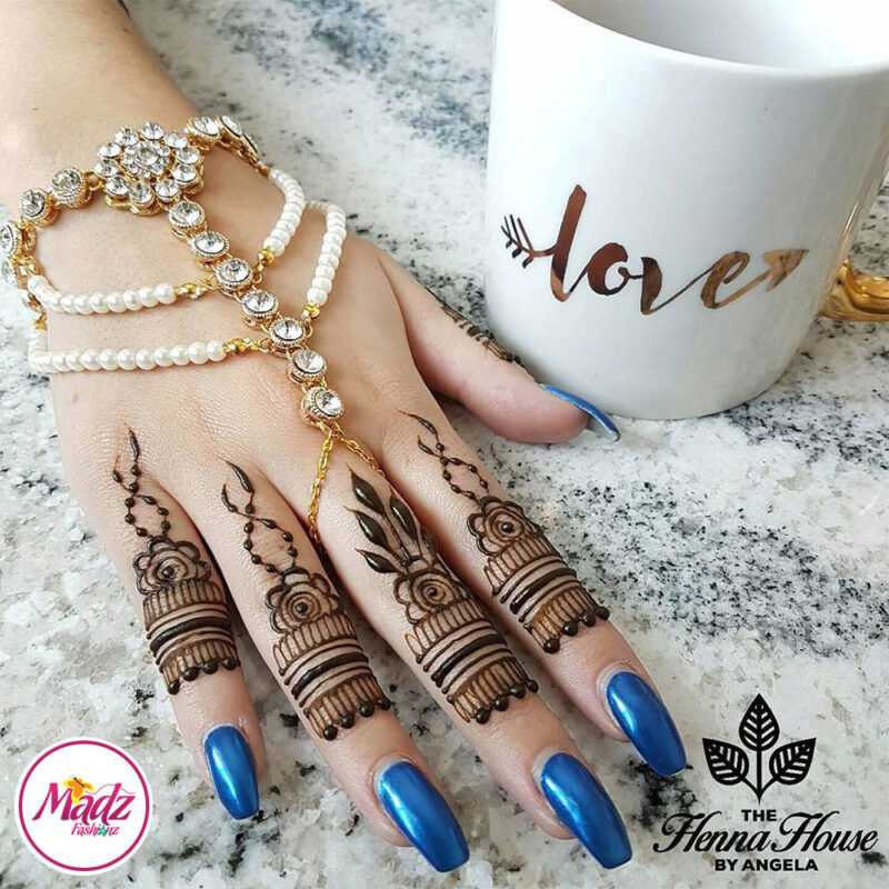 Madz Fashionz UK: Hennabyang Angela Traditional Kundan Pearled Hand chain Slave Bracelet Gold white bridal