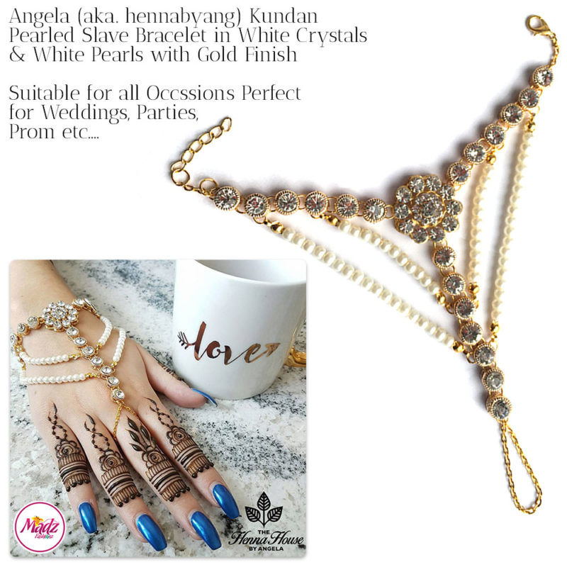 Madz Fashionz UK: Hennabyang Angela Traditional Kundan Pearled Hand chain Slave Bracelet Gold white 2