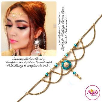 Madz Fashionz UK: Itscutiebeauty Bespoke Matha Patti Headpiece Gold Sky Blue