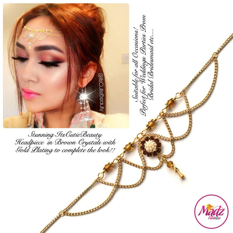 Madz Fashionz UK: Itscutiebeauty Bespoke Matha Patti Headpiece Gold Brown