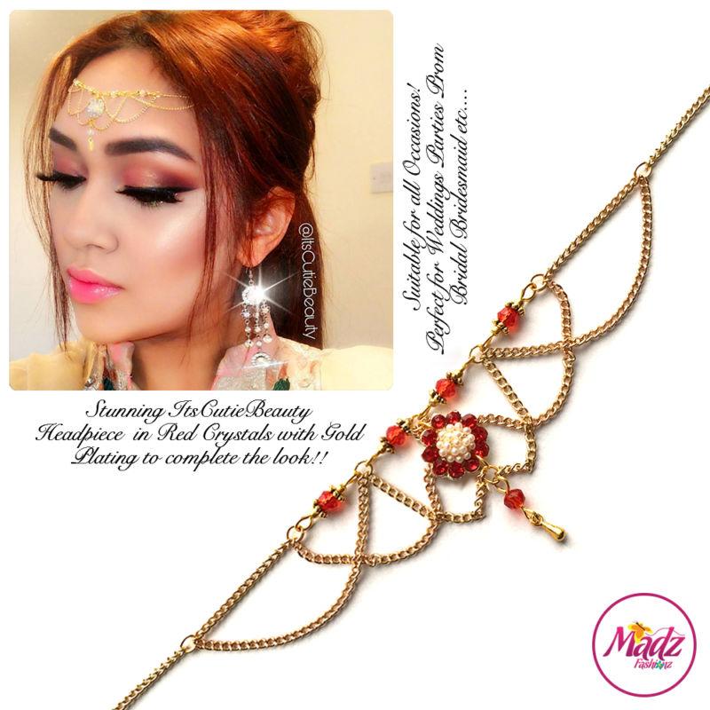Madz Fashionz UK: Itscutiebeauty Bespoke Matha Patti Headpiece Gold Red