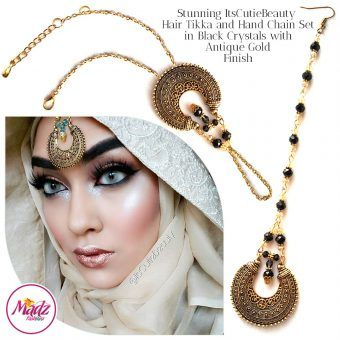 Madz Fashionz UK: ItsCutieBeauty Kundan Tikka Headpiece Handchain Chand Maang Tikka Antique Gold Black Set