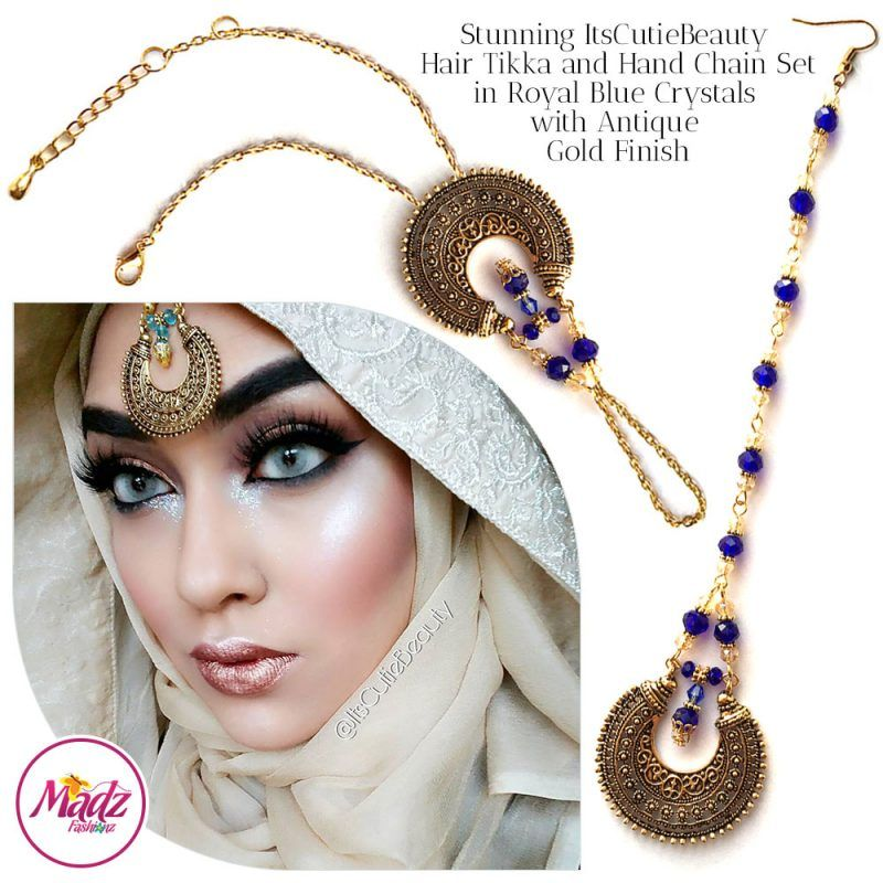 Madz Fashionz UK: ItsCutieBeauty Kundan Tikka Headpiece Handchain Chand Maang Tikka Antique Gold Royal Blue Set