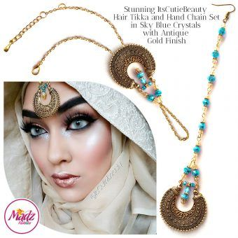 Madz Fashionz UK: ItsCutieBeauty Kundan Tikka Headpiece Handchain Chand Maang Tikka Antique Gold Sky Blue Set