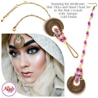 Madz Fashionz UK: ItsCutieBeauty Kundan Tikka Headpiece Handchain Chand Maang Tikka Antique Gold Shocking Pink Set
