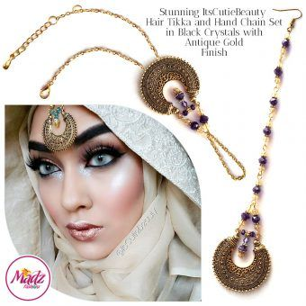 Madz Fashionz UK: ItsCutieBeauty Kundan Tikka Headpiece Handchain Chand Maang Tikka Antique Gold Purple Set
