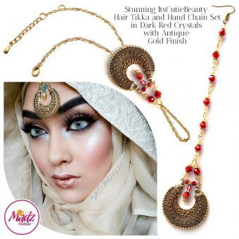 Madz Fashionz UK: ItsCutieBeauty Kundan Tikka Headpiece Handchain Chand Maang Tikka Antique Gold Red Set