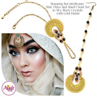 Madz Fashionz UK: ItsCutieBeauty Kundan Tikka Headpiece Handchain Chand Maang Tikka Gold Black Set