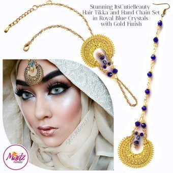Madz Fashionz UK: ItsCutieBeauty Kundan Tikka Headpiece Handchain Chand Maang Tikka Gold Royal Blue Set