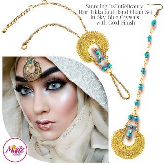 Madz Fashionz UK: ItsCutieBeauty Kundan Tikka Headpiece Handchain Chand Maang Tikka Gold Sky Blue Set