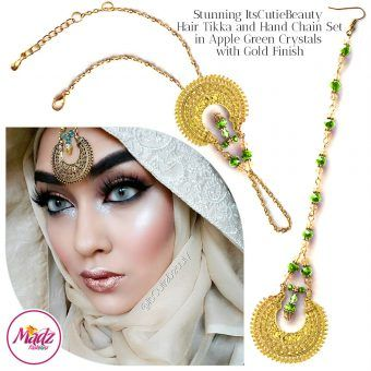 Madz Fashionz UK: ItsCutieBeauty Kundan Tikka Headpiece Handchain Chand Maang Tikka Gold Apple Green Set