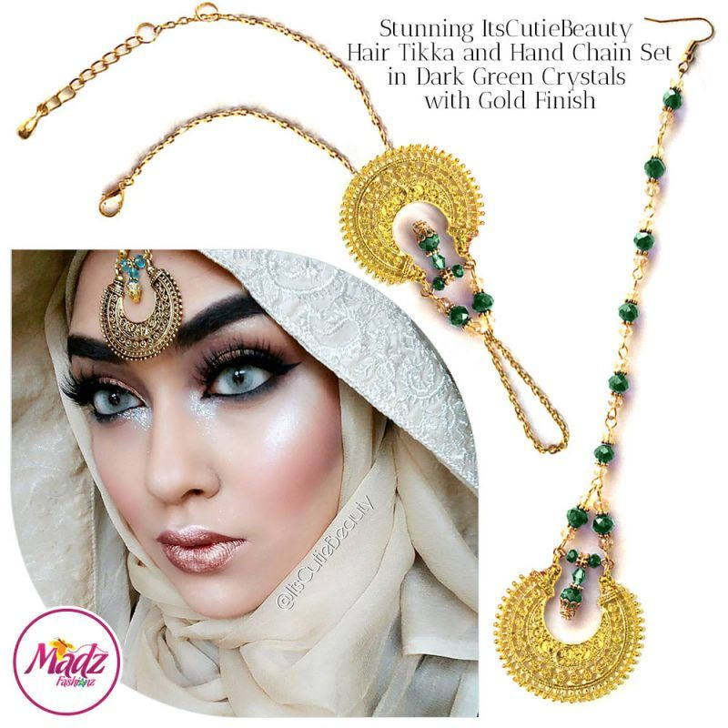 Madz Fashionz UK: ItsCutieBeauty Kundan Tikka Headpiece Handchain Chand Maang Tikka Gold Dark Green Set