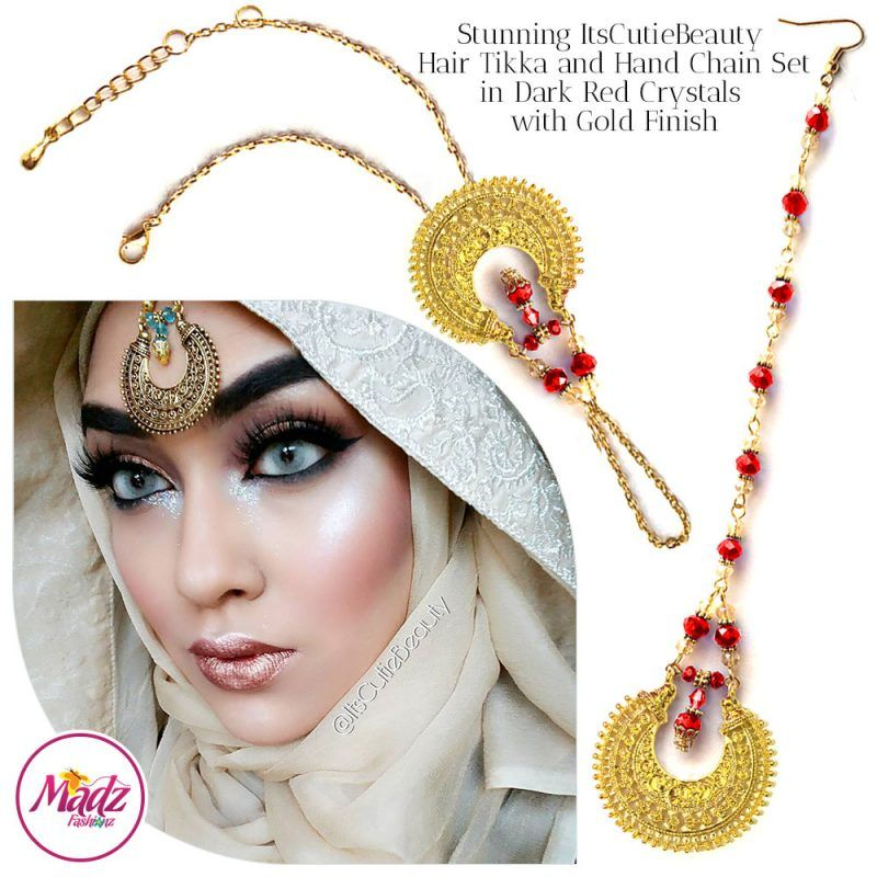 Madz Fashionz UK: ItsCutieBeauty Kundan Tikka Headpiece Handchain Chand Maang Tikka Gold Red Set