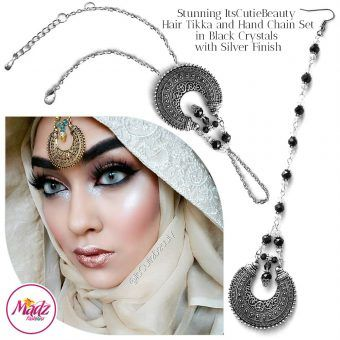 Madz Fashionz UK: ItsCutieBeauty Kundan Tikka Headpiece Handchain Chand Maang Tikka Silver Black Set