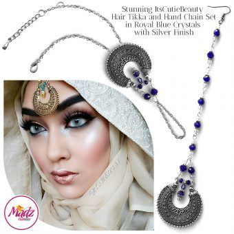 Madz Fashionz UK: ItsCutieBeauty Kundan Tikka Headpiece Handchain Chand Maang Tikka Silver Royal Blue Set