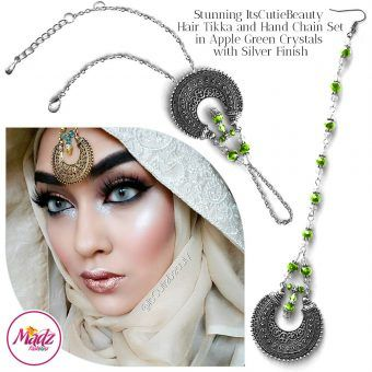 Madz Fashionz UK: ItsCutieBeauty Kundan Tikka Headpiece Handchain Chand Maang Tikka Silver Apple Green Set