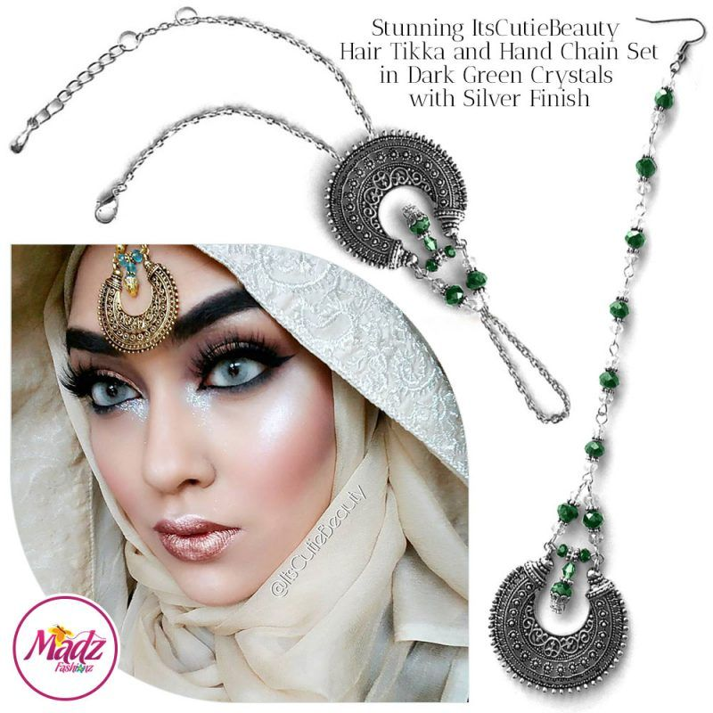 Madz Fashionz UK: ItsCutieBeauty Kundan Tikka Headpiece Handchain Chand Maang Tikka Silver Dark Green Set