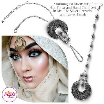 Madz Fashionz UK: ItsCutieBeauty Kundan Tikka Headpiece Handchain Chand Maang Tikka Silver Metallic Set