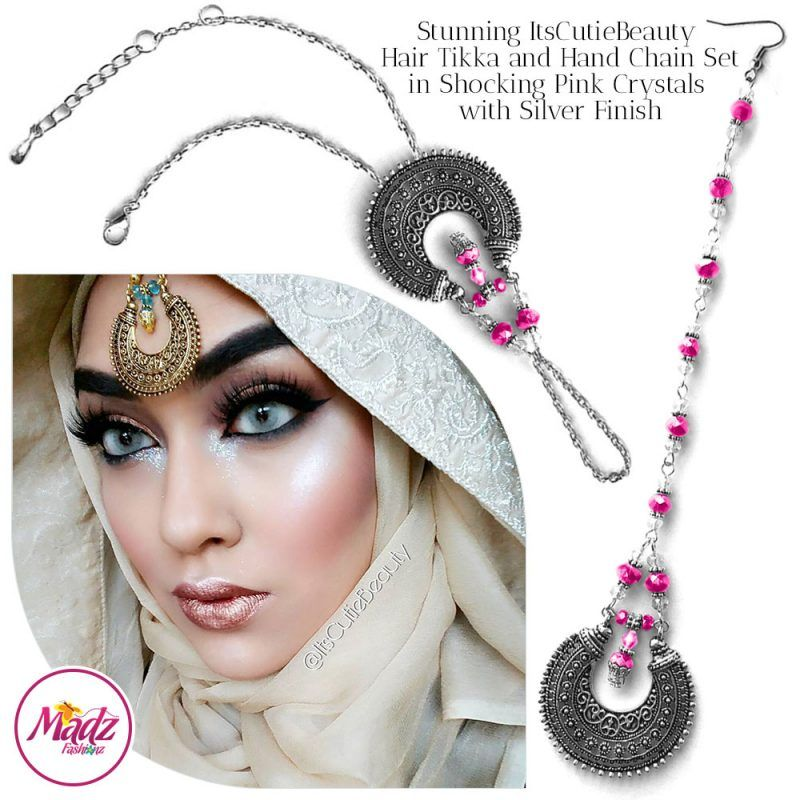 Madz Fashionz UK: ItsCutieBeauty Kundan Tikka Headpiece Handchain Chand Maang Tikka Silver Shocking Pink Set