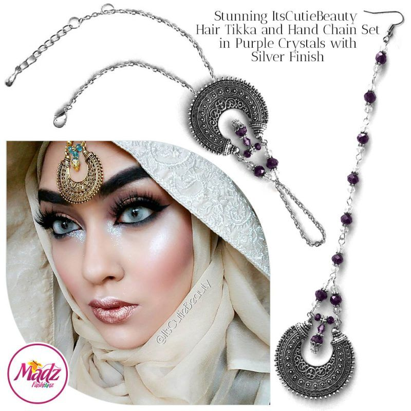 Madz Fashionz UK: ItsCutieBeauty Kundan Tikka Headpiece Handchain Chand Maang Tikka Silver Purple Set