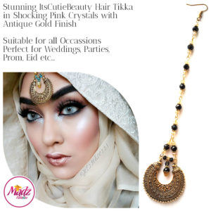 Madz Fashionz UK: ItsCutieBeauty Kundan Tikka Headpiece Headchain Maang Tikka Antique Gold Black