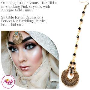 Madz Fashionz UK: ItsCutieBeauty Kundan Tikka Headpiece Headchain Maang Tikka Antique Gold Black