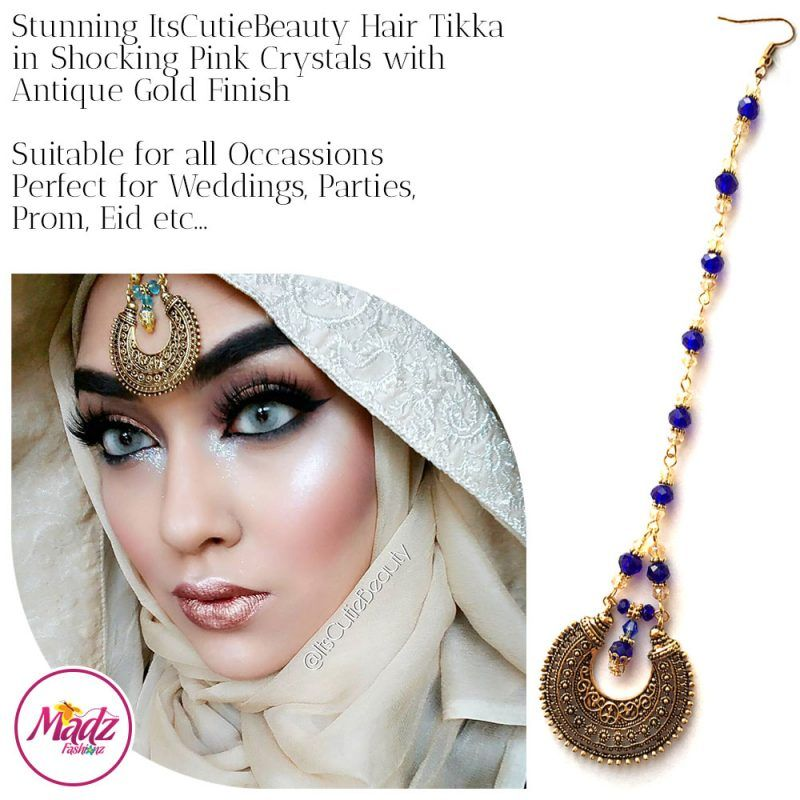 Madz Fashionz UK: ItsCutieBeauty Kundan Tikka Headpiece Headchain Maang Tikka Antique Gold Royal Blue