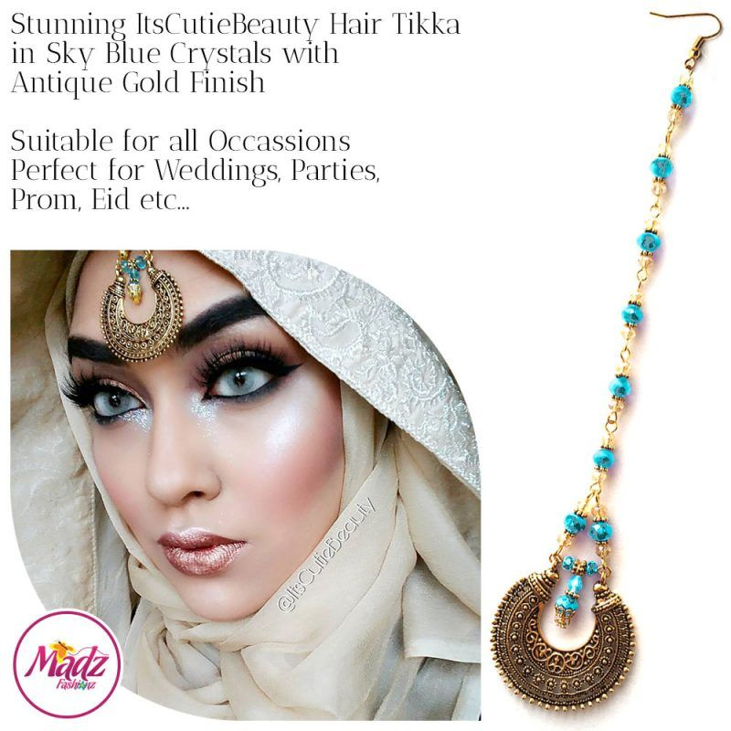 Madz Fashionz UK: ItsCutieBeauty Kundan Tikka Headpiece Headchain Maang Tikka Antique Gold Sky Blue