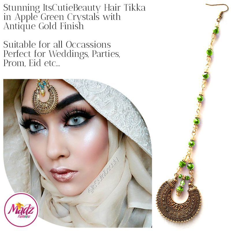 Madz Fashionz UK: ItsCutieBeauty Kundan Tikka Headpiece Headchain Maang Tikka Antique Gold Apple Green