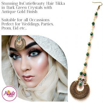 Madz Fashionz UK: ItsCutieBeauty Kundan Tikka Headpiece Headchain Maang Tikka Antique Gold Dark Green