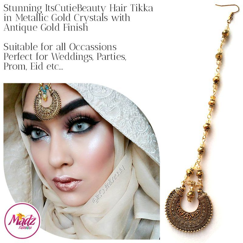 Madz Fashionz UK: ItsCutieBeauty Kundan Tikka Headpiece Headchain Maang Tikka Antique Gold Metallic