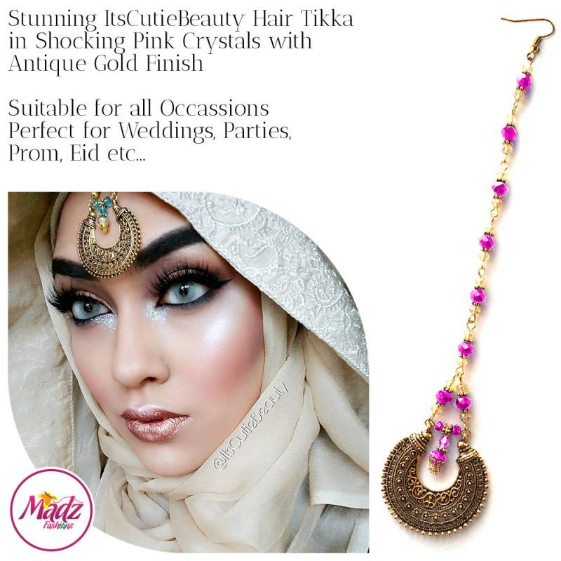 Madz Fashionz UK: ItsCutieBeauty Kundan Tikka Headpiece Headchain Maang Tikka Antique Gold Shocking Pink