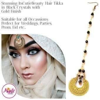 Madz Fashionz UK: ItsCutieBeauty Kundan Tikka Headpiece Headchain Maang Tikka Gold Black
