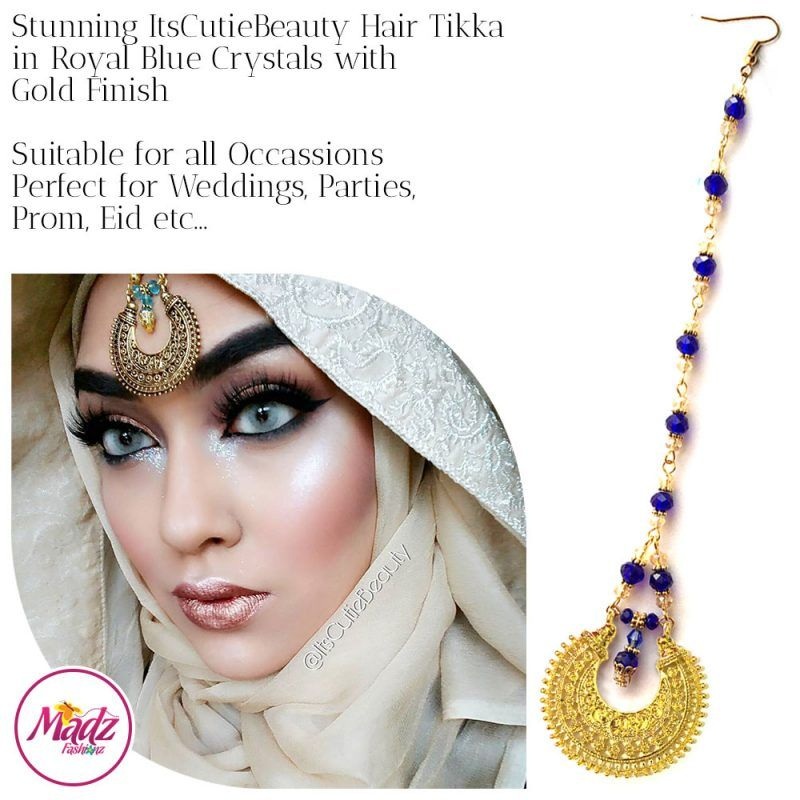 Madz Fashionz UK: ItsCutieBeauty Kundan Tikka Headpiece Headchain Maang Tikka Gold Royal Blue