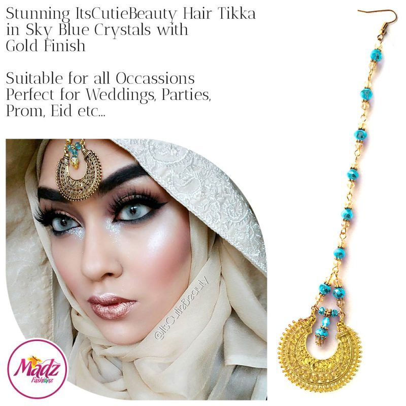 Madz Fashionz UK: ItsCutieBeauty Kundan Tikka Headpiece Headchain Maang Tikka Gold Sky Blue