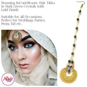 Madz Fashionz UK: ItsCutieBeauty Kundan Tikka Headpiece Headchain Maang Tikka Gold Dark Green