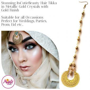 Madz Fashionz UK: ItsCutieBeauty Kundan Tikka Headpiece Headchain Maang Tikka Gold Metallic