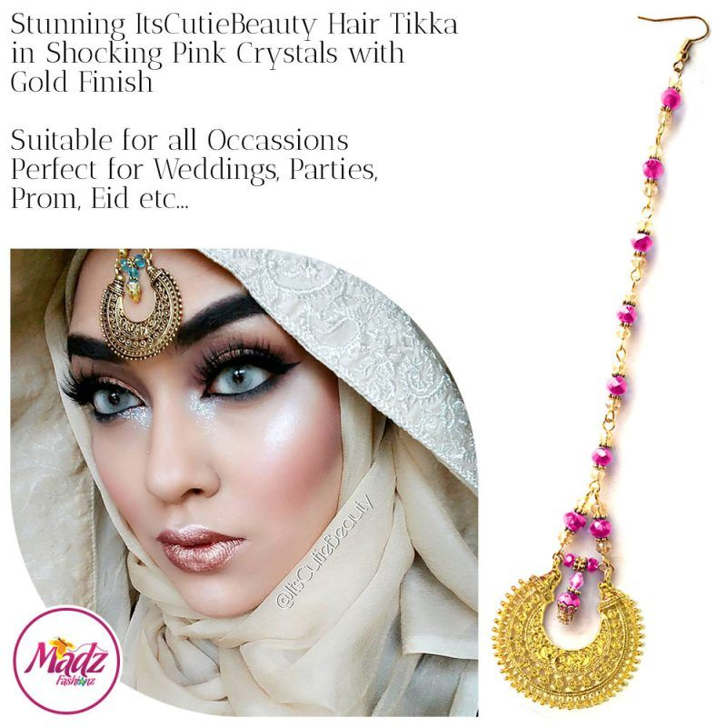 Madz Fashionz UK: ItsCutieBeauty Kundan Tikka Headpiece Headchain Maang Tikka Gold Shocking Pink