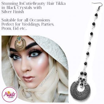 Madz Fashionz UK: ItsCutieBeauty Kundan Tikka Headpiece Headchain Maang Tikka Silver Black