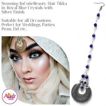 Madz Fashionz UK: ItsCutieBeauty Kundan Tikka Headpiece Headchain Maang Tikka Silver Royal Blue