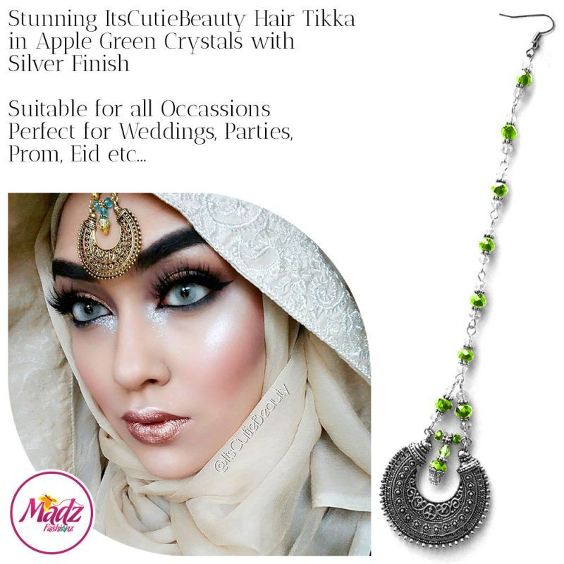 Madz Fashionz UK: ItsCutieBeauty Kundan Tikka Headpiece Headchain Maang Tikka Silver Apple Green