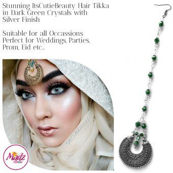 Madz Fashionz UK: ItsCutieBeauty Kundan Tikka Headpiece Headchain Maang Tikka Silver Dark Green