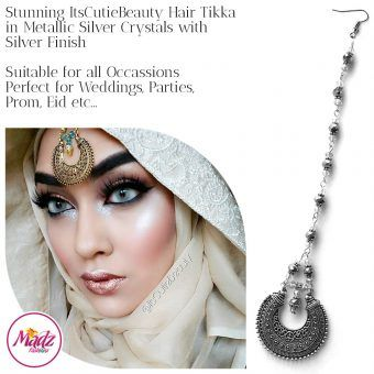 Madz Fashionz UK: ItsCutieBeauty Kundan Tikka Headpiece Headchain Maang Tikka Silver Metallic