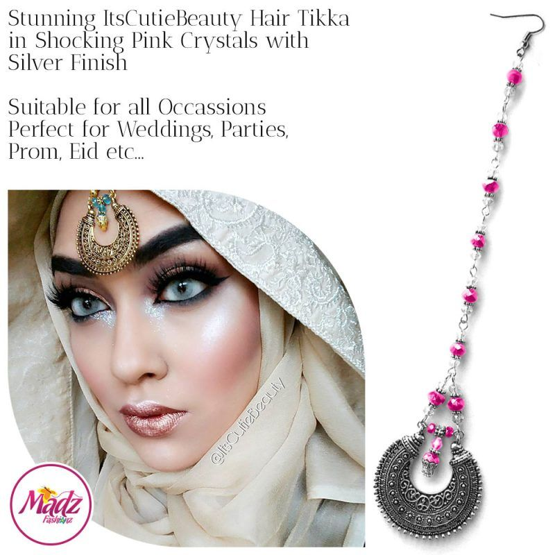 Madz Fashionz UK: ItsCutieBeauty Kundan Tikka Headpiece Headchain Maang Tikka Silver Shocking Pink