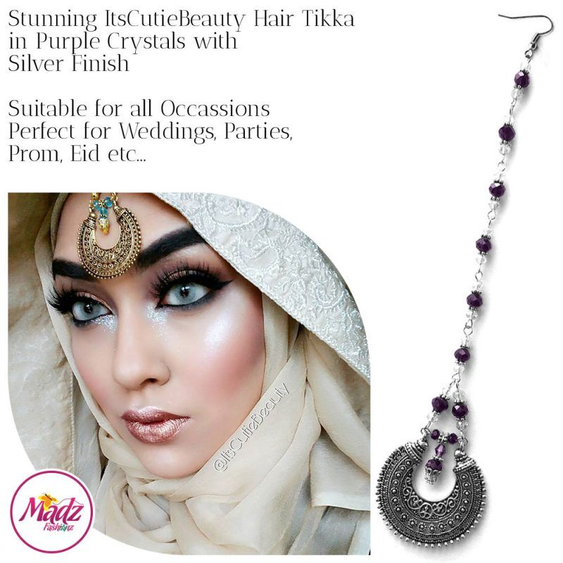 Madz Fashionz UK: ItsCutieBeauty Kundan Tikka Headpiece Headchain Maang Tikka Silver Purple