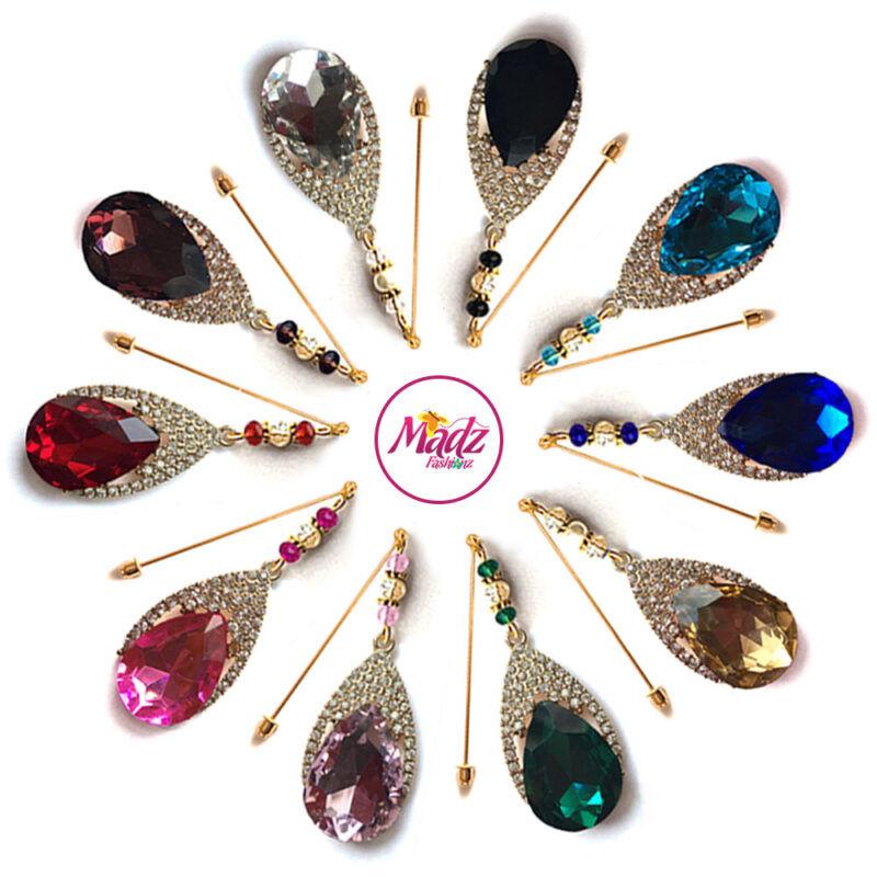 Madz Fashionz UK: Dalnaaz Chandelier Drop Hijab Pin Stick Pin Hijab Jewels Hijab Pins Gold Finish
